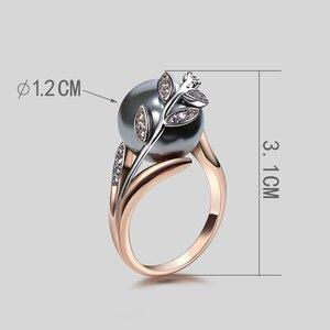 Image 5 - Świąteczny prezent dla mamy wielka wyprzedaż modny naszyjnik bransoletka kolczyki pierścionek różowe złoto szara perła modny liść zestaw biżuterii 4 sztuki