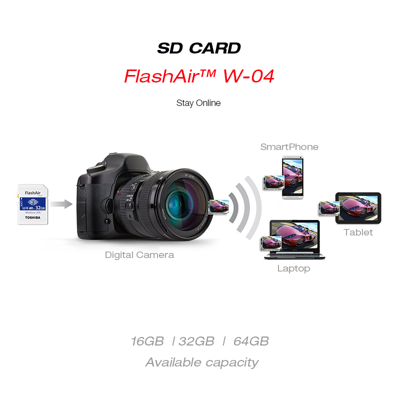 Image 4 - TOSHIBA FlashAir W 04 WiFi SD Card 64GB SDXC 32GB 16GB SDHC Class 10 U3 Memory Card Flash Card For Digital Camera-in Memory Cards from Computer & Office