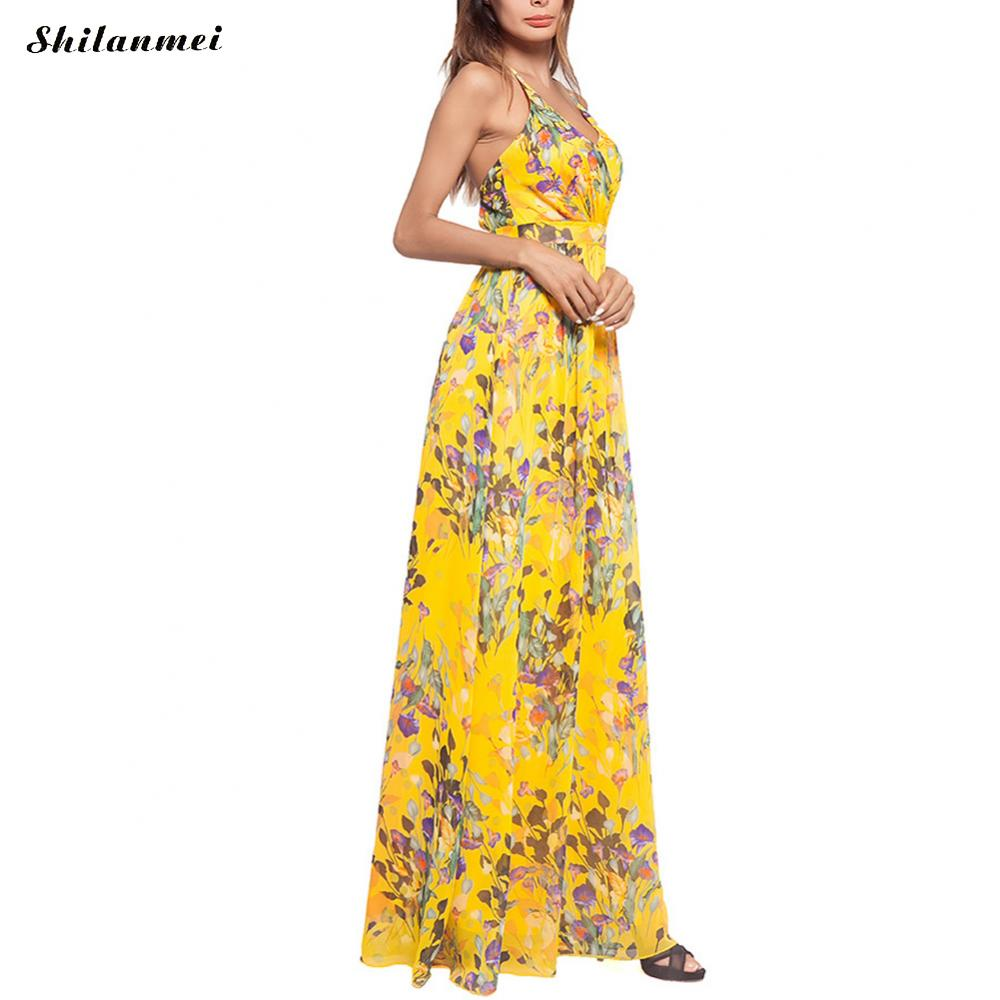051564cdf0e Designers Yellow Chiffon Long Dress Women Summer 2018 Sexy Deep V Beach  Sundress Boho Maxi Vestidos Verano Bohemian Maxi Dress -in Dresses from  Women s ...