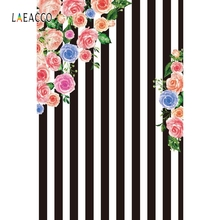 Laeacco Flower Black White Stripe Backdrop Birthday Photography Backgrounds Customized Photographic Backdrops For Photo Studio