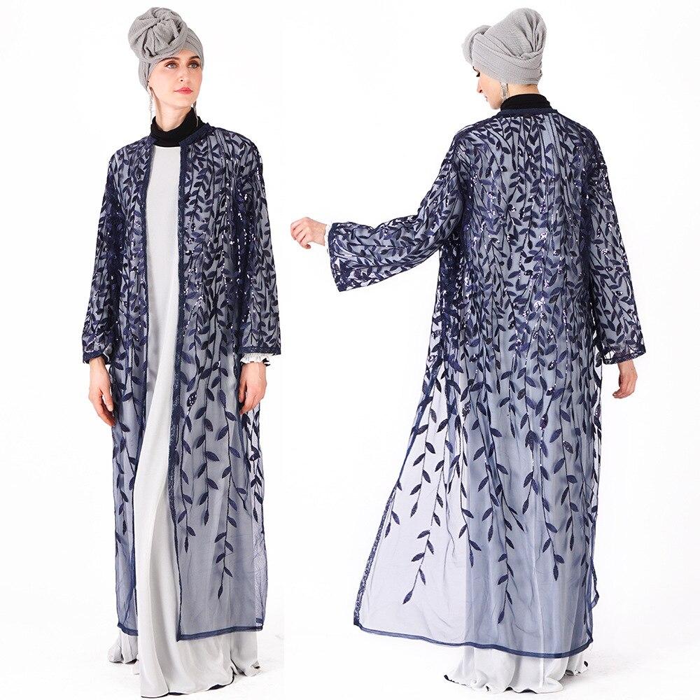 Muslim Ramadan Women Sequins Cardigan Leaves Embroidery Outwear Muslim Prayer Clothing L201