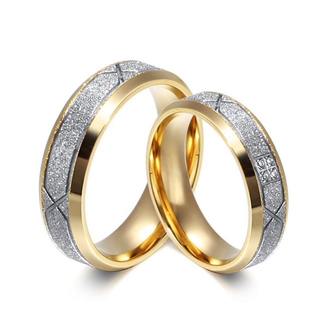 Free Custom Engraving 6mm Stainless Steel Silver Gold Color Wedding Rings With Frosted Design