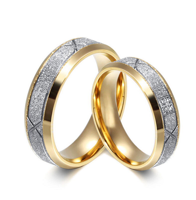 free custom engraving 6mm stainless steel silver gold color couple wedding rings with frosted design
