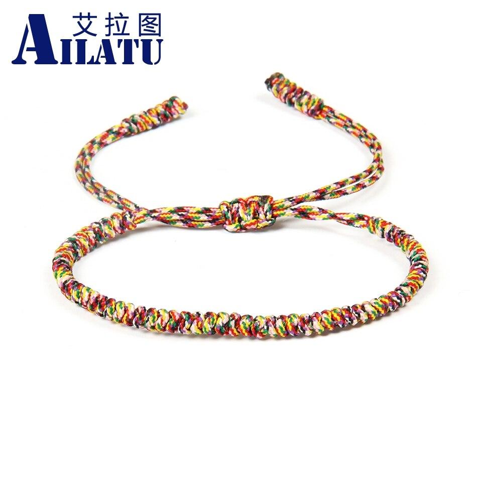 Ailatu Wholesale 10pcslot Multicolor Handmade Braiding Macrame Bracelet Best Gift Fashion Jewelry