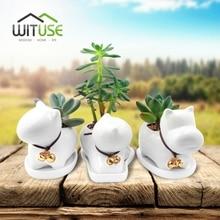 WITUSE DIY Cartoon Flower Pot Ceramic Plant Animals Desk Decorative White Hand Painted Garden Pots Planter for Balconie Home