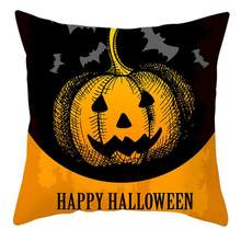 Halloween Pumpkin Witch Cushion Cover Decorative Pillowcase Peach Skin Square Pillow Case For Home Decoration