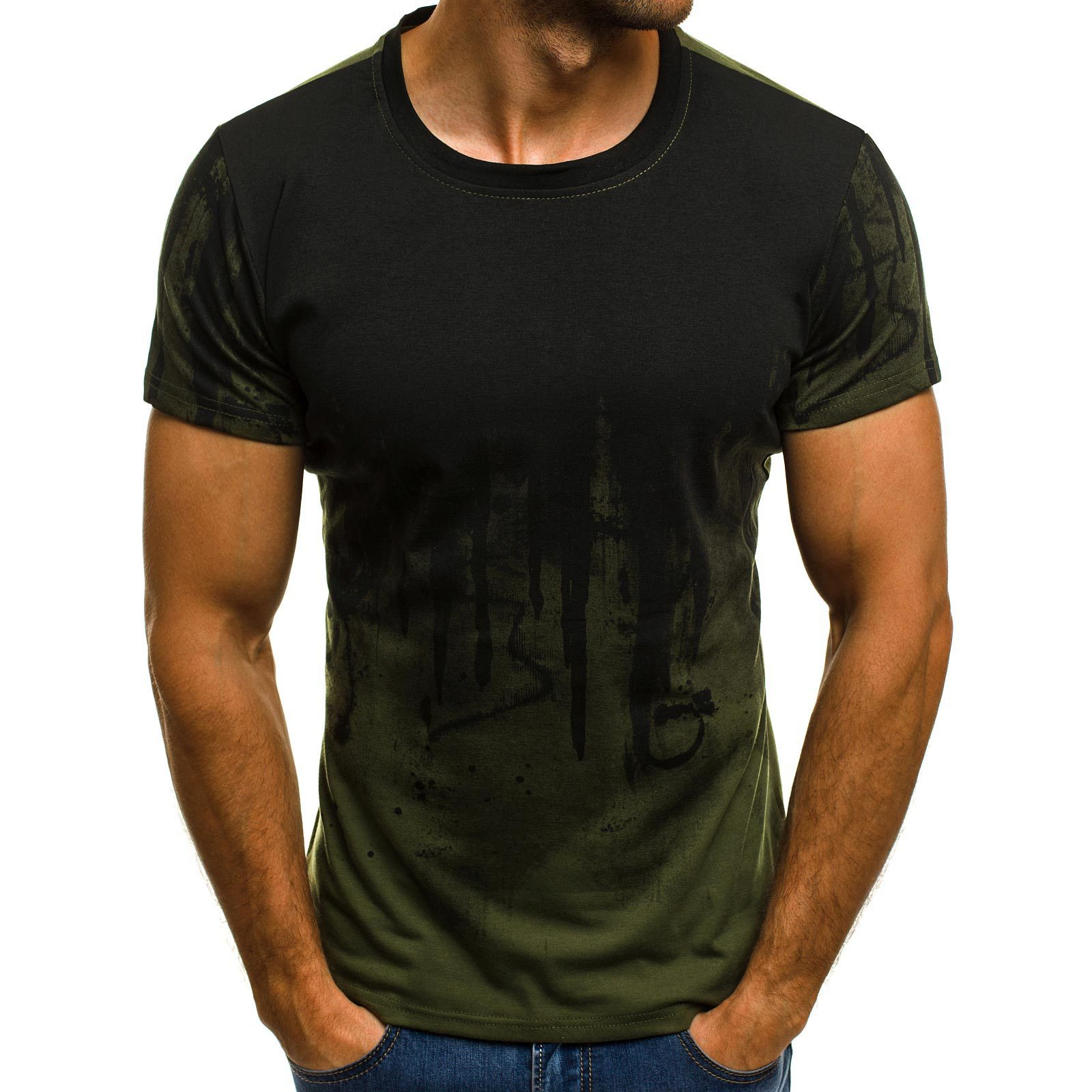 2019 New Short Sleeve Male Hiphop Streetwear Fitness Gradient Color Men   T     shirt   Printed Fashion Male   T  -  shirts   3XL Tee Tops