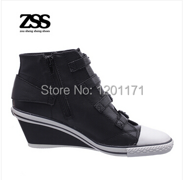 5f3d5b4ebbf5 Ash Genial Ter Womens Wedge Sneaker Black Leather Sneakers Free Shipping-in  Men s Casual Shoes from Shoes on Aliexpress.com