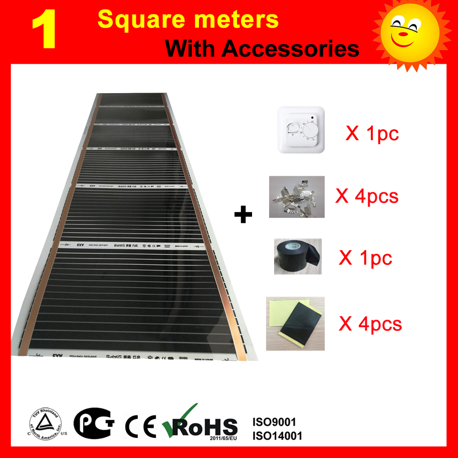 1 Square meter far Infrared under floor Heating film, AC220V floor heating film with thermostat and other accessories free to norway 50m2 ptc carbon heating film 220v 110w best for under floor heating systems self regulating far infrared film
