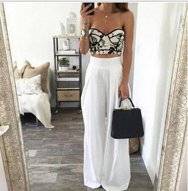 2017 Summer Women High Waist Wide Leg Pants Sexy Fashion Loose Side Zipper Pockets Chiffon Black White Trousers Party Pant