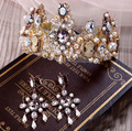 Fashion Vintage Noble pearl Crystal Crown earrings for Bride Magnificent princess gold Diadem tiaras Wedding Hair Accessories