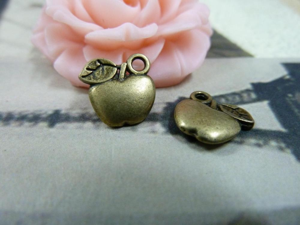 50pcs a lot Free Shipping vintage style Antique Bronze Apple Charm DIY Jewelry Making findings accessory