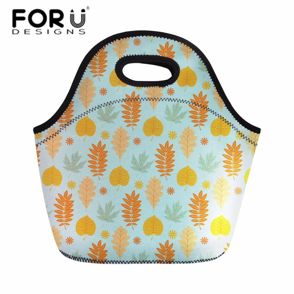FORUDESIGNS Picnic Bag Lunch Bags for Women Retro Leaves Printed Camping Bags Waterproof Kids Thermal Insulated Cooler Hand Bags