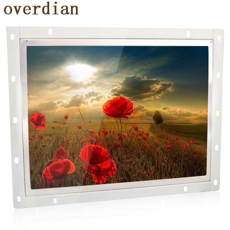 12/12.1 Inch Industrial Control Lcd Monitor VGA/DVI Interface High Resolution Metal Shell Cool Open Frame None Touchscreen 4:3 zk080tn 2660 8 inch 1024x768 metal case vga hdmi signal open embedded frame wall hanging industrial monitor lcd screen display