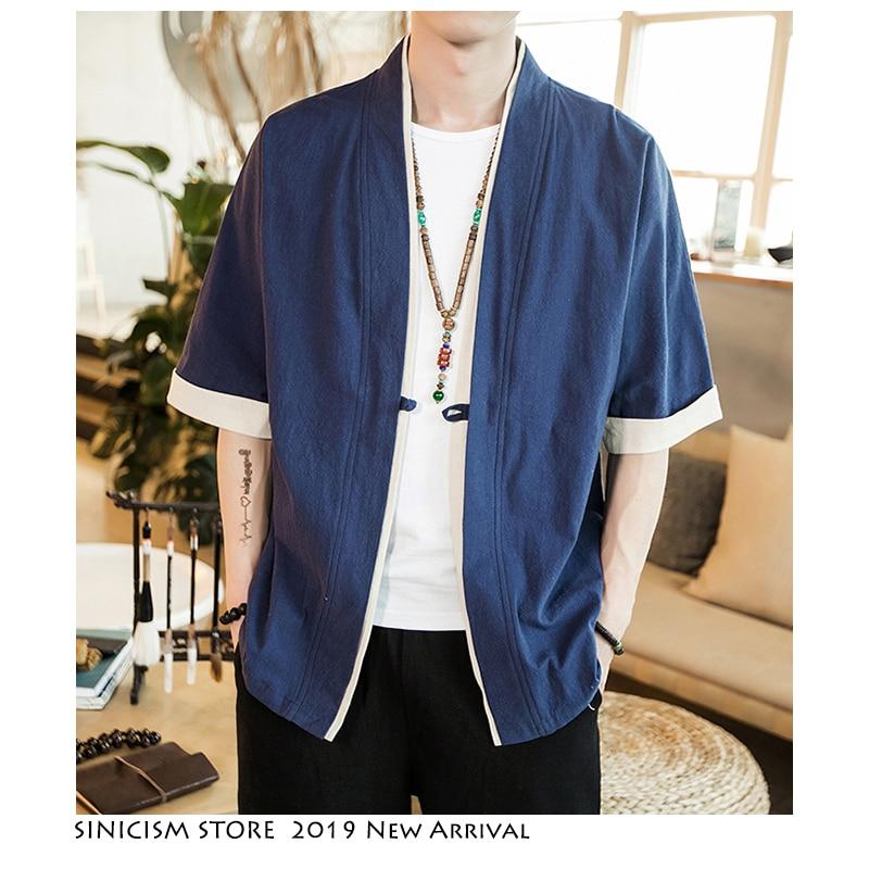 Sinicism Store Men Patchwork Shirt Streetwear Short Sleeve 2019 Summer Harajuku Vintage Kimono Shirts Black Fashion Open Stitch