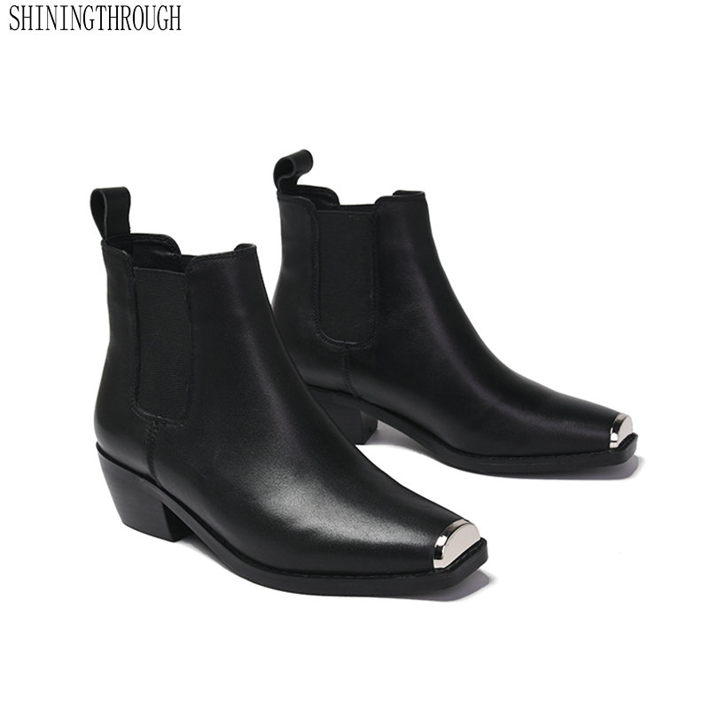 Brand metal Square Toe Women Ankle Boots Genuine Leather Chelsea Boots Autumn Winter Comfortable med heels