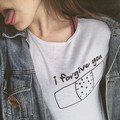 New 2016 Fashion I Forgive You letter Corner White T shirt casual Style O-neck Women Shirts S-XXXL