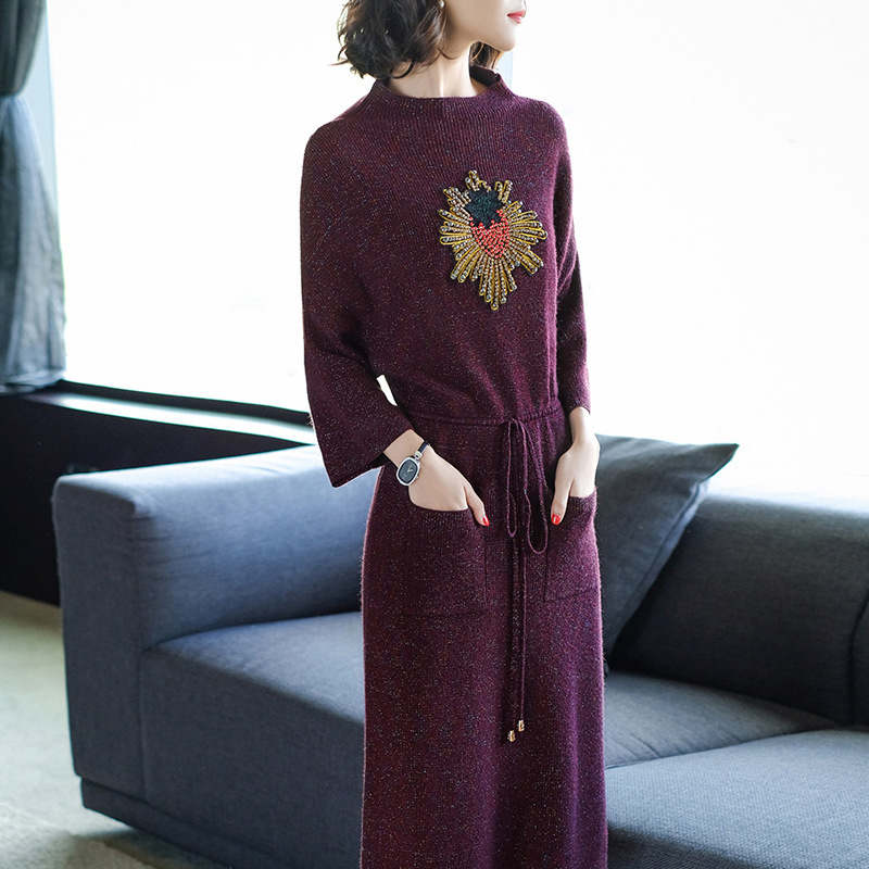 2017 Women Winter Elegant Dress Long Sleeve Thicken Party Slim Knitted Sweaters Dresses For Women Casual Dresses Vestidos