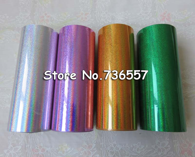 [4 rolls] Hot stamping foil Holographic foil hot stamping on paper or plastic 16cm x 120m Laser sand Golden Silver Green Pink [4 rolls] hot stamping foil holographic foil hot stamping on paper or plastic 16cm x 120m laser sand golden silver green pink