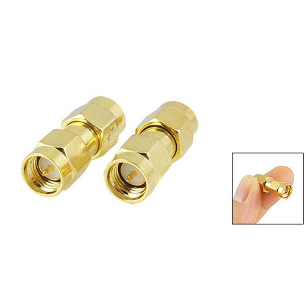2015 Hot  5 pcs Gold Tone SMA Male to SMA Male Plug RF Coaxial Adapter Connector 100x sma male to sma female right angle rf coaxial adapter connector gold plated