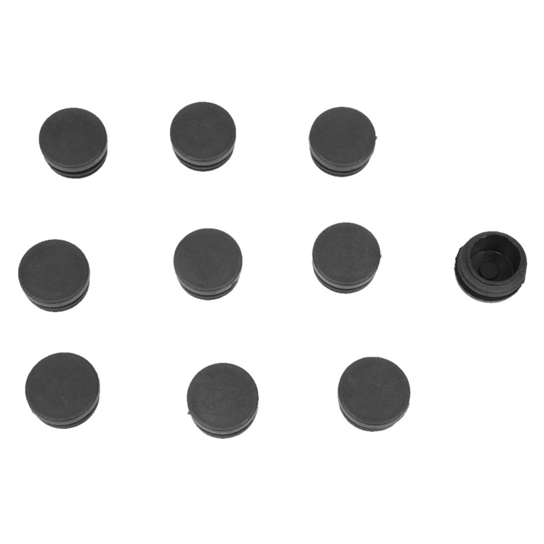 цена на Hot Sale 30mm x 21mm Black Plastic Blanking End Caps Round Tube Insert Bung 10 Pcs