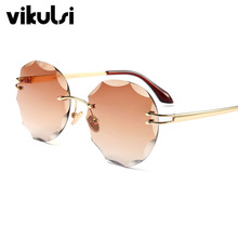 4029c035bb 2017 Luxury Round Sunglasses For Women Rimless Diamond Cutting Lens Brand  Designer Fashion Shades Sun Glasses Gradient Eyewear