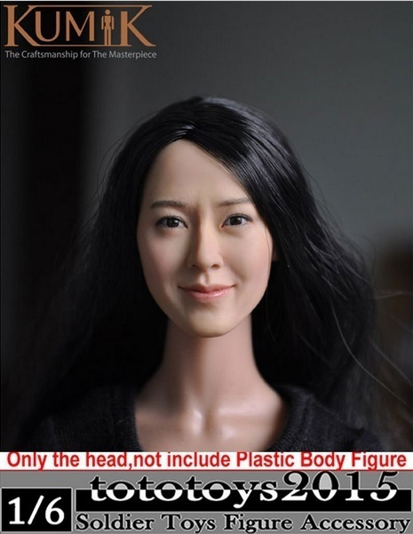 1/6 KM13-77 KUMIK Girl Female Head Sculpt Custom Figure Head Model Head For 12 Action Figure Doll Gift 1 6 popular km 38 female head sculpt model with black hair for 12 female action figure body doll toys