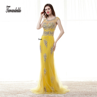 Robe De Soiree Longue Yellow Tulle Sheath Evening Dress 2017 Evening Gowns Long Heavy Beading Prom