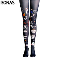 BONAS Black Pantyhose Tights Cat Skull Print Legins Collant High Elastic Trendy Pantyhose Womens Cotton Patterned