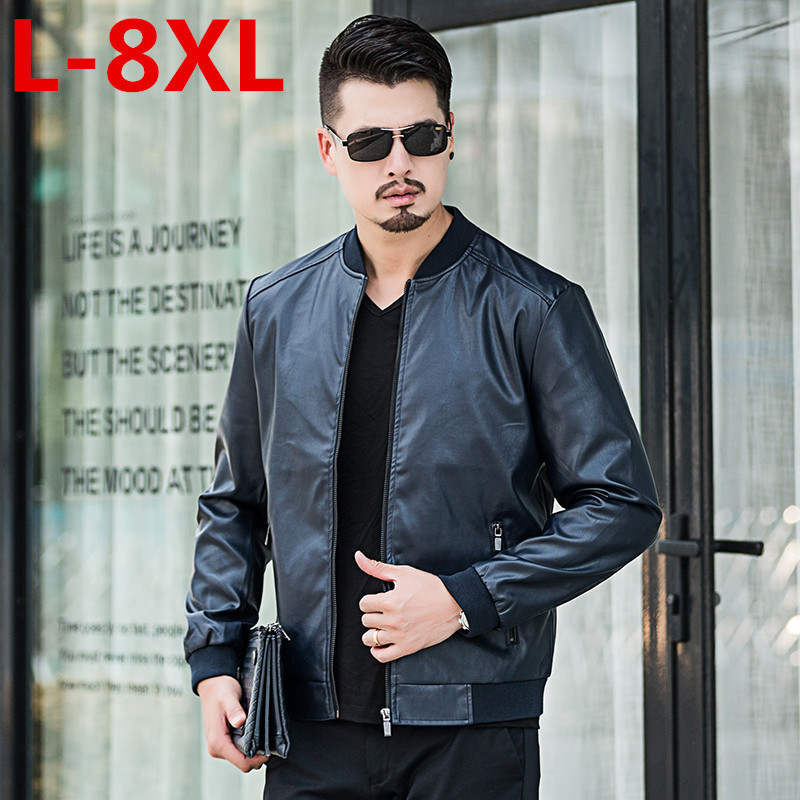 big size Men Leather Jacket Genuine Real Sheep Goat skin Brand Black Male Bomber Motorcycle Biker Man's Coat Autumn Spring