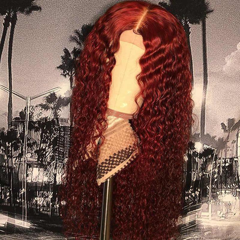 13X6 Rode 99J Lace Front Menselijk Haar Pruiken Bordeaux Gekleurd Menselijk Haar Krullend Pruiken Diepe Middelste Deel Braziliaanse lace Front Remy Pruiken