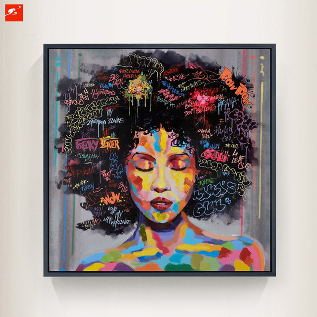 Cadre Graffiti Street Wall Art Moderne Femme Africaine