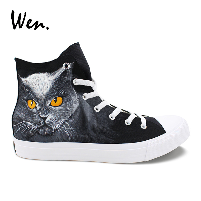 Wen Classic Black Shoes Hand Painted Design Yellow Eyes Pet Cat High Top Men Canvas Sneakers Women Athletic Skate Shoes wen men women sneakers white anime design tokyo ghouls hand painted canvas shoes classic athletic sport skate flat
