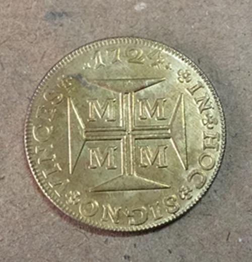 1724 Бразилия 4000 Reis-Жоао V Копировать Золотая монета