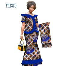 New Vintage African Clothes Draped Tops and Skirt Sets with Head Wrap for Women Bazin 2 Piece Clothing WY3171