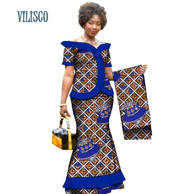 New Vintage African Clothes Draped Tops and Skirt Sets with Head Wrap for Women Bazin African 2 Piece Skirt Sets Clothing WY3171