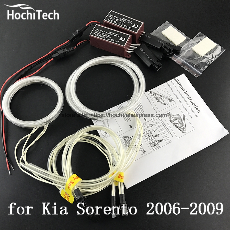 HochiTech ccfl angel eyes kit white 6000k ccfl halo rings headlight for Kia Sorento 2006 2007 2008 2009 for uaz patriot ccfl angel eyes rings kit non projector halo rings car eyes free shipping
