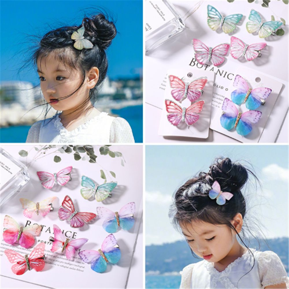 2Pcs/Pack Girls Beautiful Colorful Simulation Butterfly Hair  Mini Sweet Hair Ornament Headband Hairpins Kids Hair Accessories