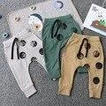 Nununu * 2016 crianças terry algodão primavera outono calças do bebê crianças de corpo inteiro desenho geométrico harém calça 1-5Y frete grátis