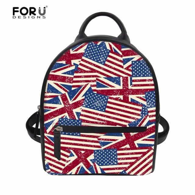 ab0bc076b0ea FORUDESIGNS Luxury School Bagpacks Bags for Teen Girls Mini 3D UK USA Flags Printed  Women Casual Backpack Female Daily Rucksack