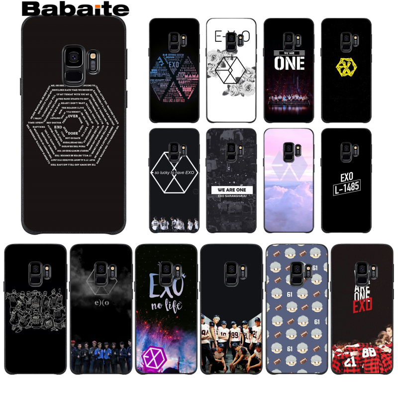 sale retailer 1a542 9343b Babaite EXO Logo Smart Cover Black Soft Shell Phone Case For GALAXY s5 s7  edge s8 plus s9 plus s6s6 edge s10 s10 plus s10 Lite