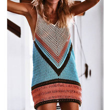 Crochet Knitted 2019 New Sexy Beach Cover Up Bikini  Swimwear Beach Wear Hollow Out Swimsuit Cover Up Knitting Beach Dresses crochet insert hollow out beach cover up