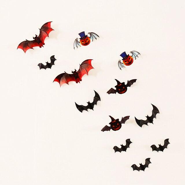12pcs/set New bat wall sticker for Halloween decoration kids rooms ...