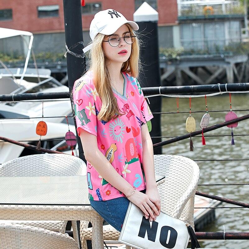 Tshirt 2019 Summer T Shirt Women Harajuku Loose Cartoon printing Short Sleeves T shirts Fashion Movement Tops harajuku in T Shirts from Women 39 s Clothing