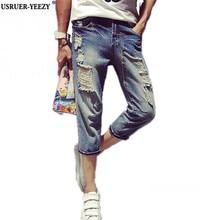 USRUER-YEEZY Верховный Новые Поступления Моды Жан Джинсовые Шорты Мужские Обрезанные Брюки Истинные Дешевые Китай Ковбойские Брюки Мужские джинсы homme