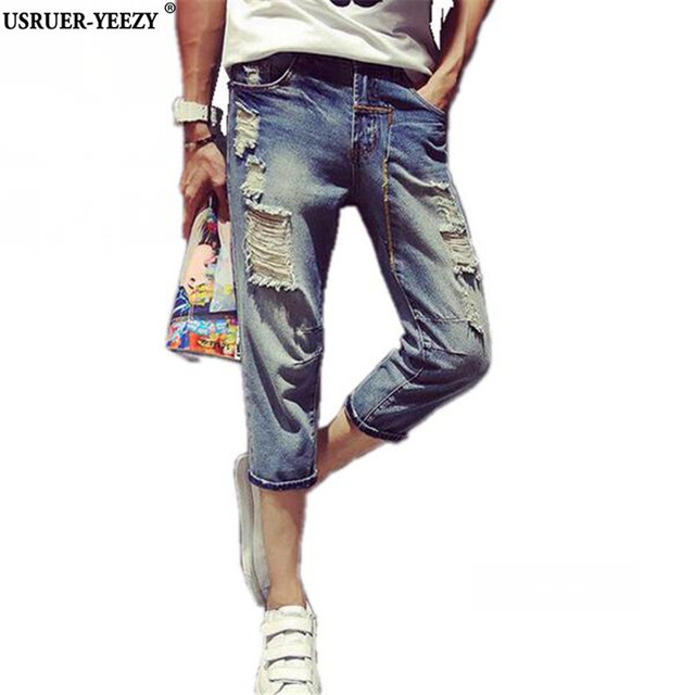 Usruer Yeezy Supreme New Arrivals Fashion Jean Denim Shorts Mens