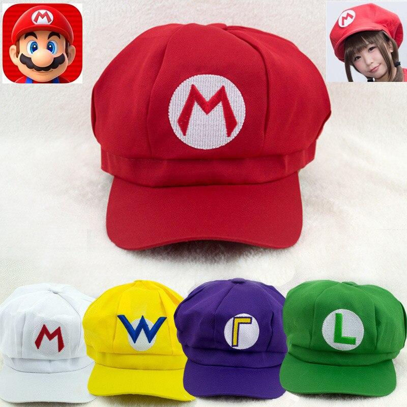 Classic Anime Super Mario Cosplay Props Hats Luigi Bros Dome Cotton Caps Boys Girls Baseball Cap Kids Adult Accessories New