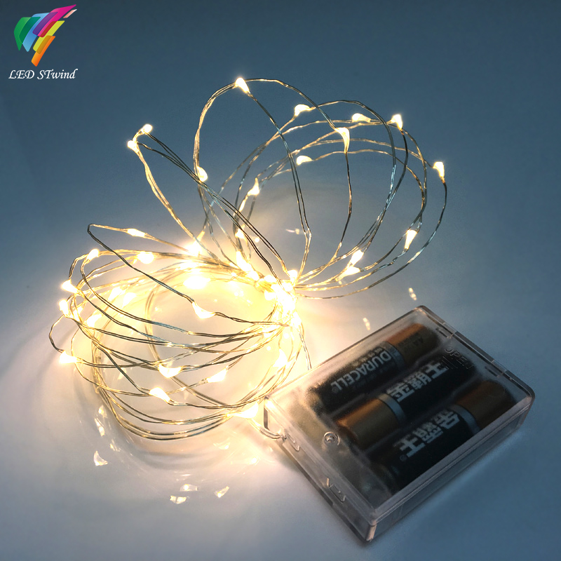 9 color 5M 50leds Fairy String Lights lamp Battery Operated Mini LED Decorative Silver color ...