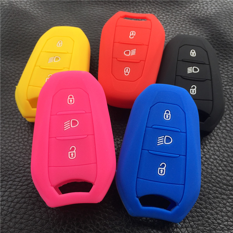 silicone car key fob case <font><b>cover</b></font> holder shell hood for <font><b>Peugeot</b></font> <font><b>308</b></font> 408 508 2008 3008 4008 5008 3 button smart remote key case image