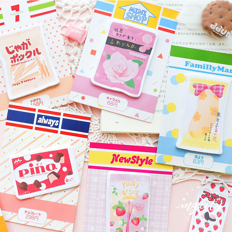 30Pcs The Convenience Store Strawberry Cake Sticky Notes School Stationery Memo Pad Lovely Diary Sticker Planner Office Supplies